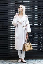 Длинное  пальто  из шерсти - 0