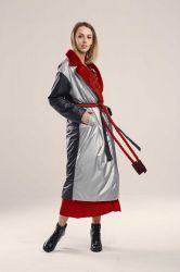 Пуховик женский длинный прямой с поясом - 4