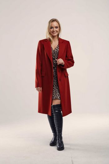 Длинное прямое пальто  из шерсти