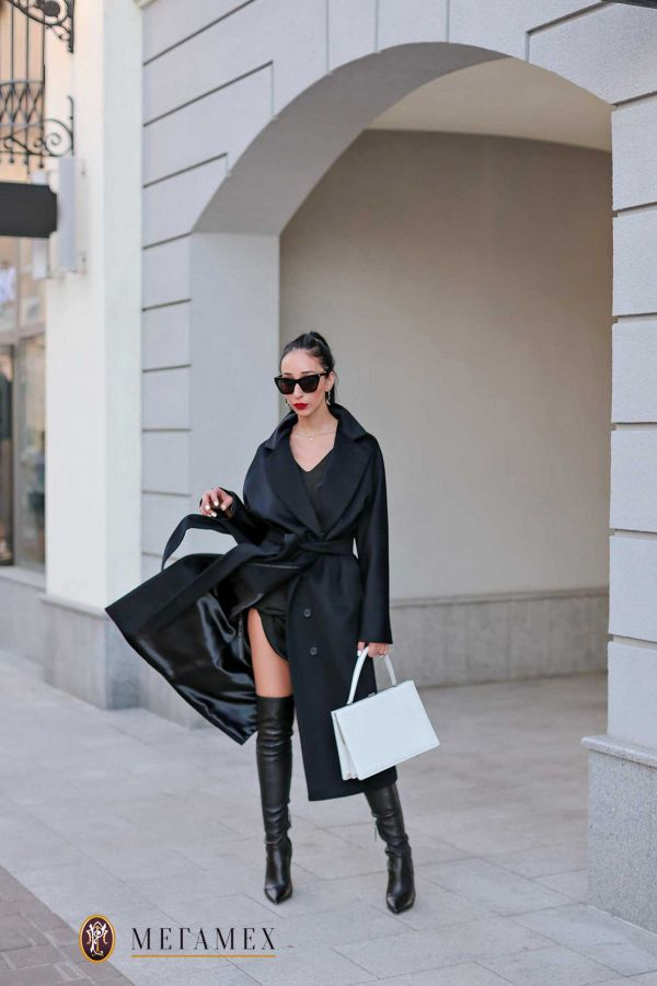 Удлиненное прямое пальто  из шерсти